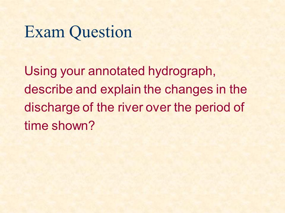 Exam Question Using your annotated hydrograph,