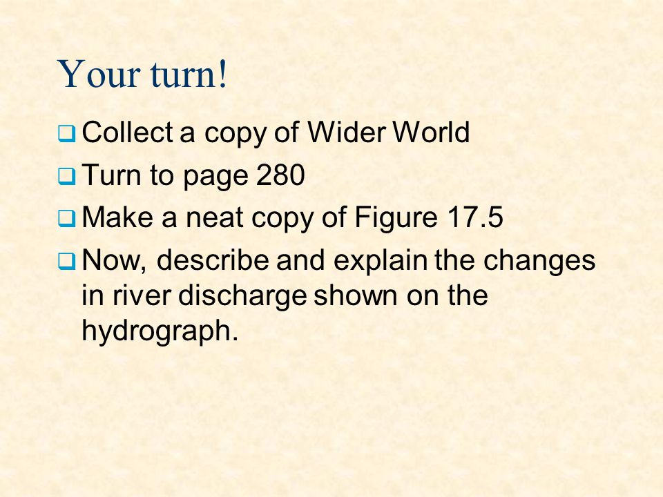 Your turn! Collect a copy of Wider World Turn to page 280