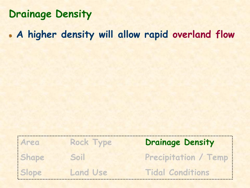 Drainage Density A higher density will allow rapid overland flow