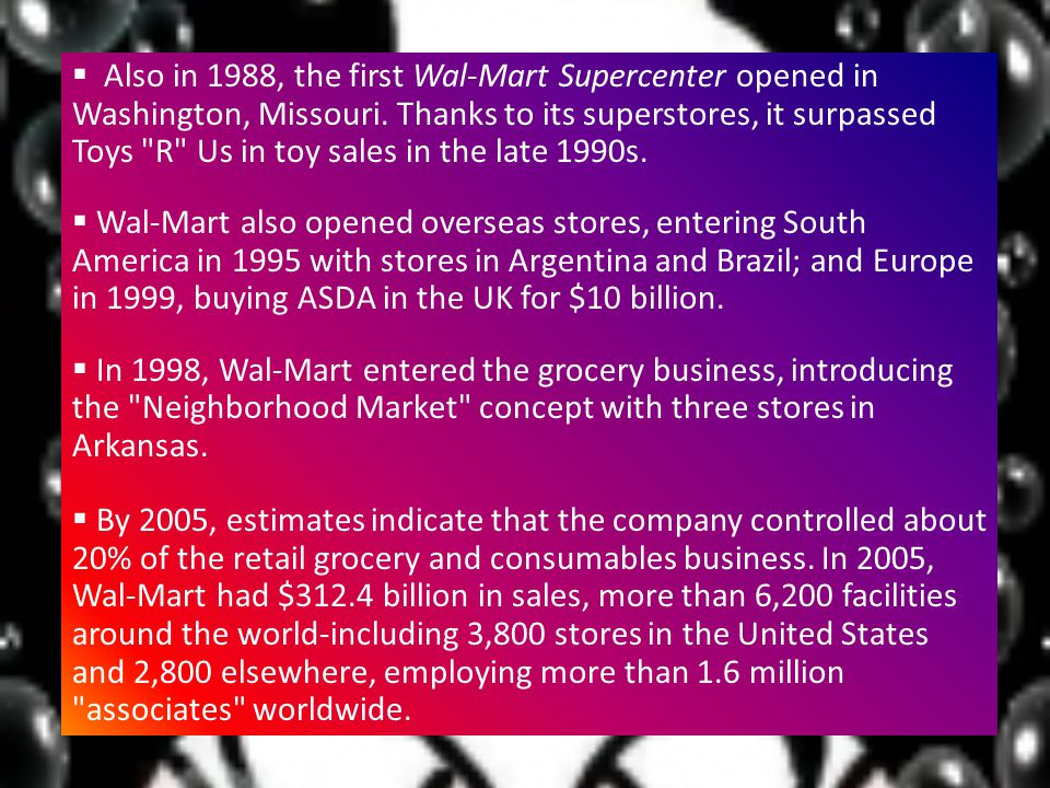 wal mart essay international marketing Wal-mart essay international marketing 1 wal-mart practices the global market orientation support this statement by providing specific examples from the article (15 points) wal-mart is the leading company in retail markets worldwide, with net sales of $ 344,992 million in 2007 many would argue that wal-.