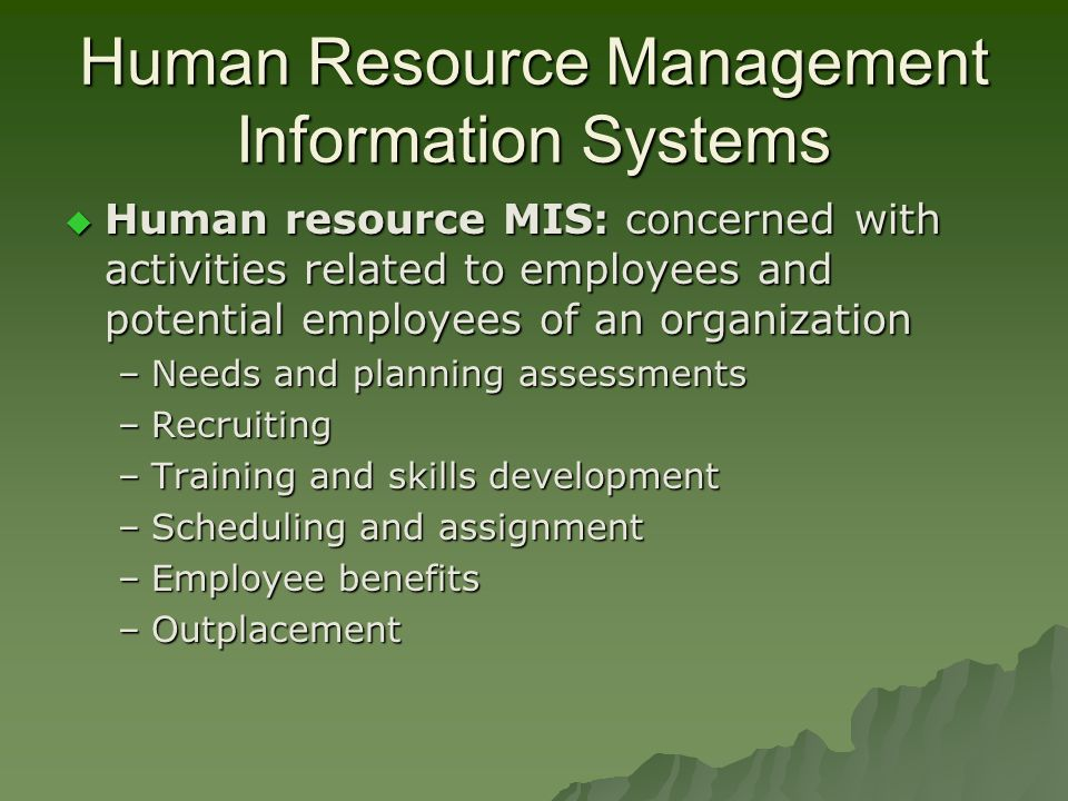 development of staff management information system The management information systems (mis) major, which is housed in the   manage the design and development of systems-related solutions for companies.