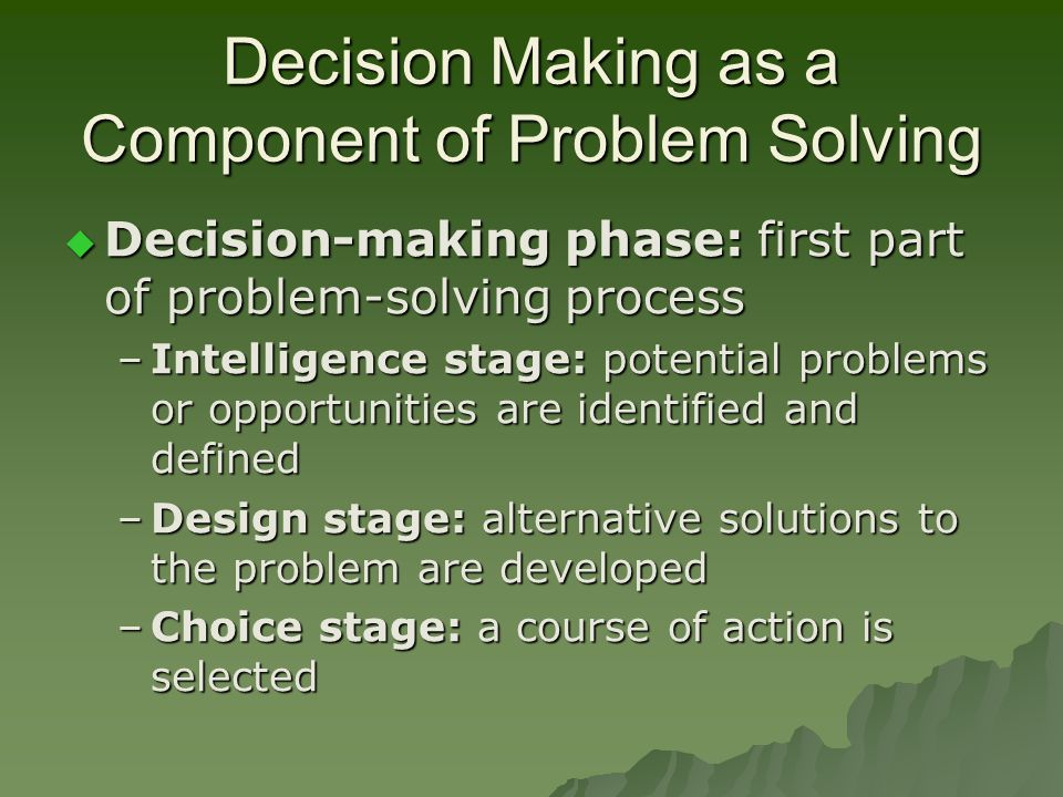components of decision making Start studying ethical decision-making learn vocabulary, terms, and more with flashcards, games, and other study tools.