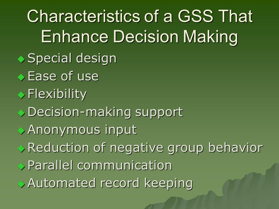 characteristics of decision support system pdf