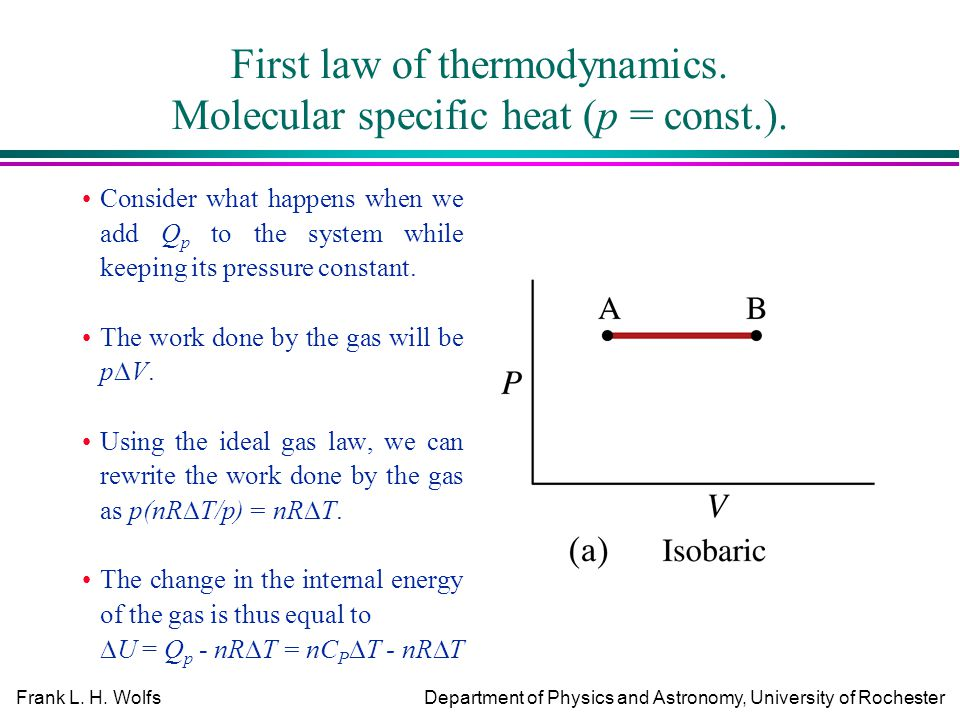 physics first law of thermodynamics assignment First law of thermodynamics states that in any thermodynamic process,when heat q is added to a system,this energy appears as an increase in the internal energy stored.