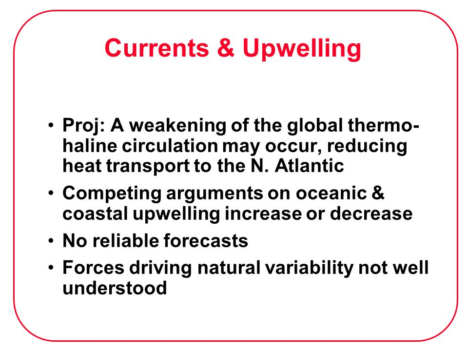 Currents & UpwellingProj: A weakening of the global thermo-haline circulation may occur, reducing heat transport to the N. Atlantic.
