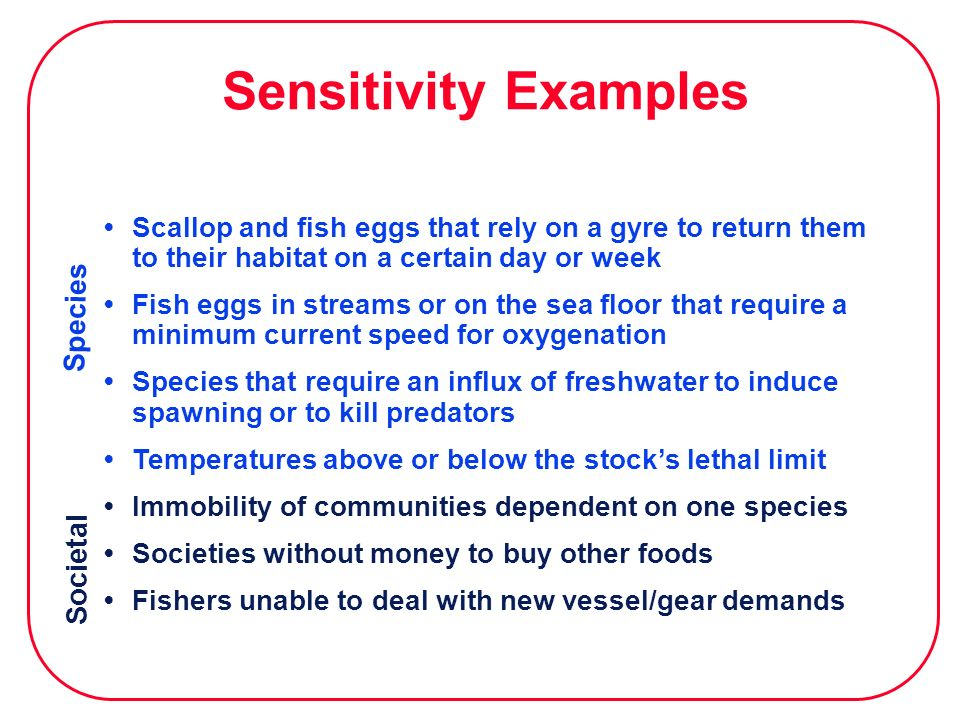 Sensitivity Examples Species Societal