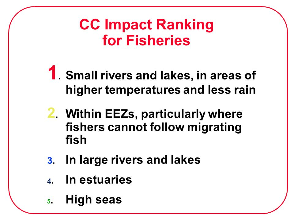 CC Impact Ranking for Fisheries