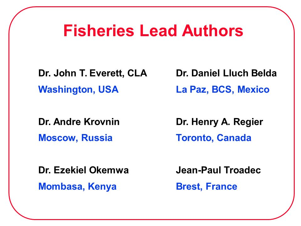 Fisheries Lead Authors