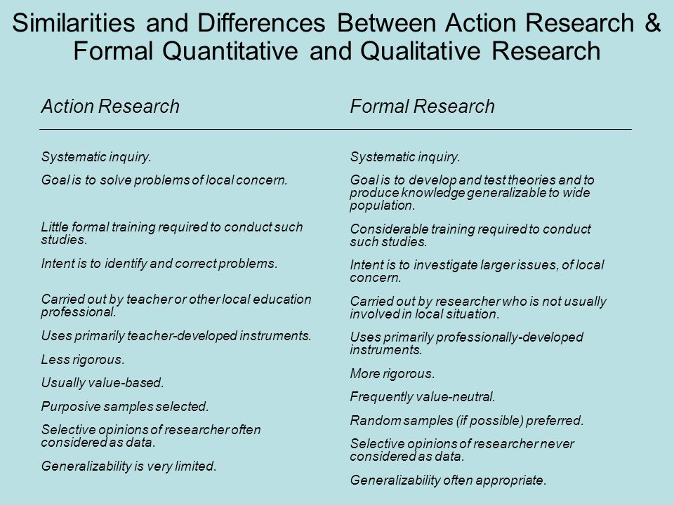 similarities of qualitative and quantitative research Qualitative research differs from quantitative in a number of ways in quantitative research, the researcher disassociates from the subject(s) of the research (winter, 2000) dispassionate observation and neutral categorization of the data are imperative to validity in quantitative research.