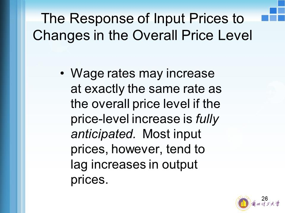 The Response of Input Prices to Changes in the Overall Price Level