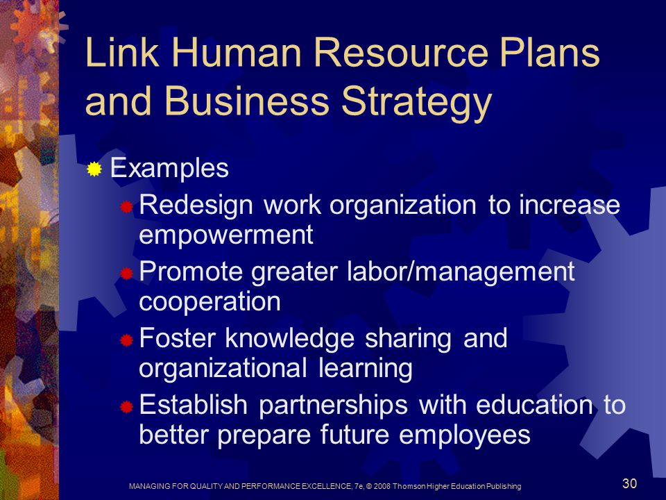 Link Human Resource Plans and Business Strategy