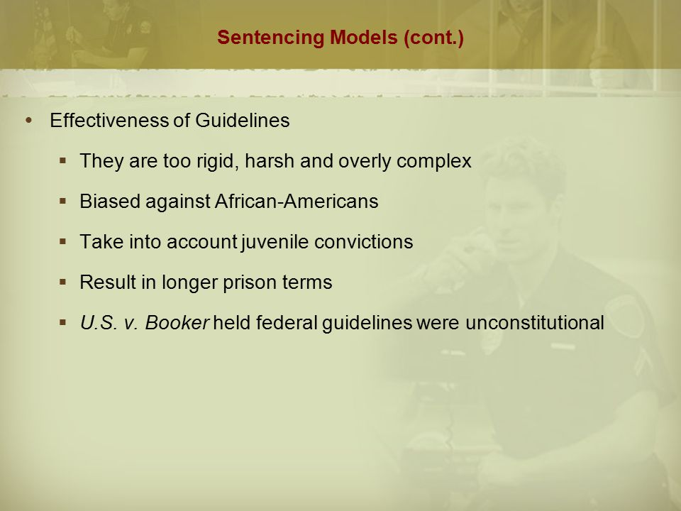 sentencing models Evaluate the effectiveness of the sentencing models study the case studies listed in this week's reading assignments (listed below), and discuss the following:  evaluate the effectiveness of the sentencing models as well as the practical implications of the public policies behind each case.