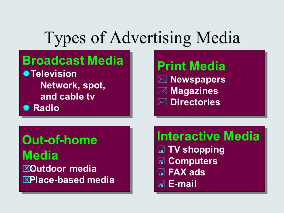 types of advertising media Various means (advertising vehicles) such as billboards, magazines, newspapers, radio, television, and internet by which promotional messages are communicated to the public using words, speech, and pictures.