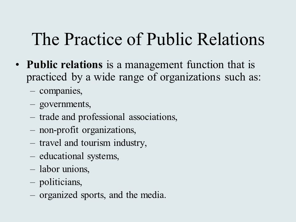 the role of public relations in non profit organizations Nonprofitprorg is published as a public service by shoestring (the nonprofit's agency), a full-service marketing communications agency.