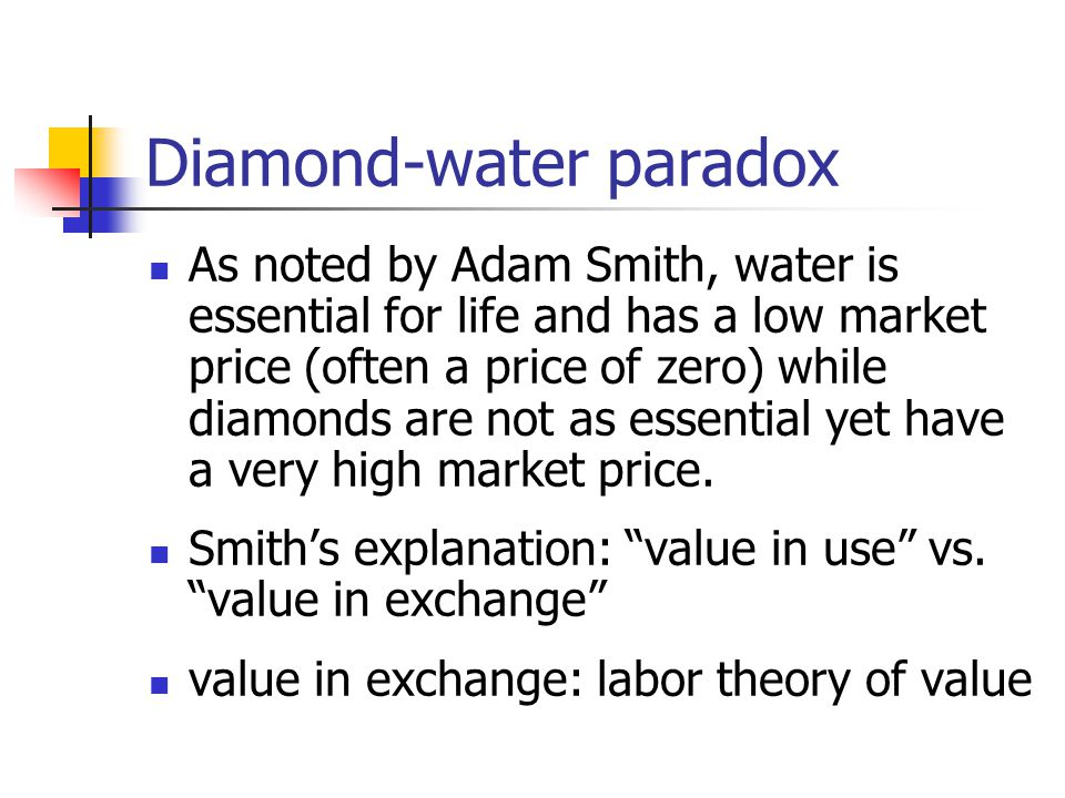 diamond water paradox The diamond-water paradox occurs because: the supply of water is great relative to demand and the supply of diamonds is small relative to demand essential water is cheaper than nonessential diamonds because:.