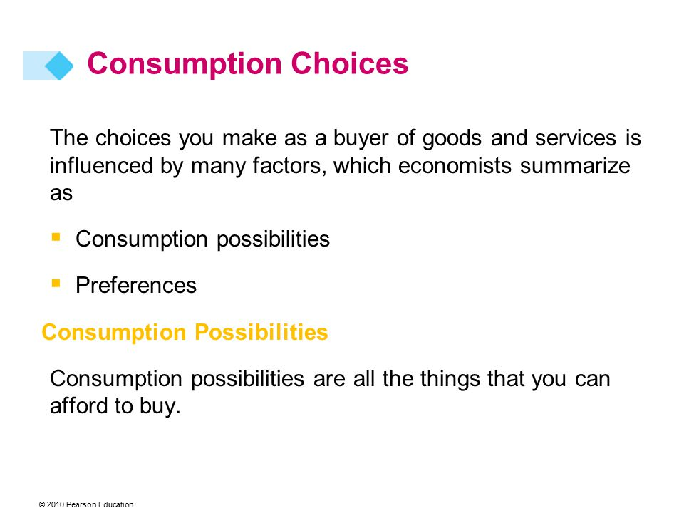 Consumption Choices The choices you make as a buyer of goods and services is influenced by many factors, which economists summarize as.