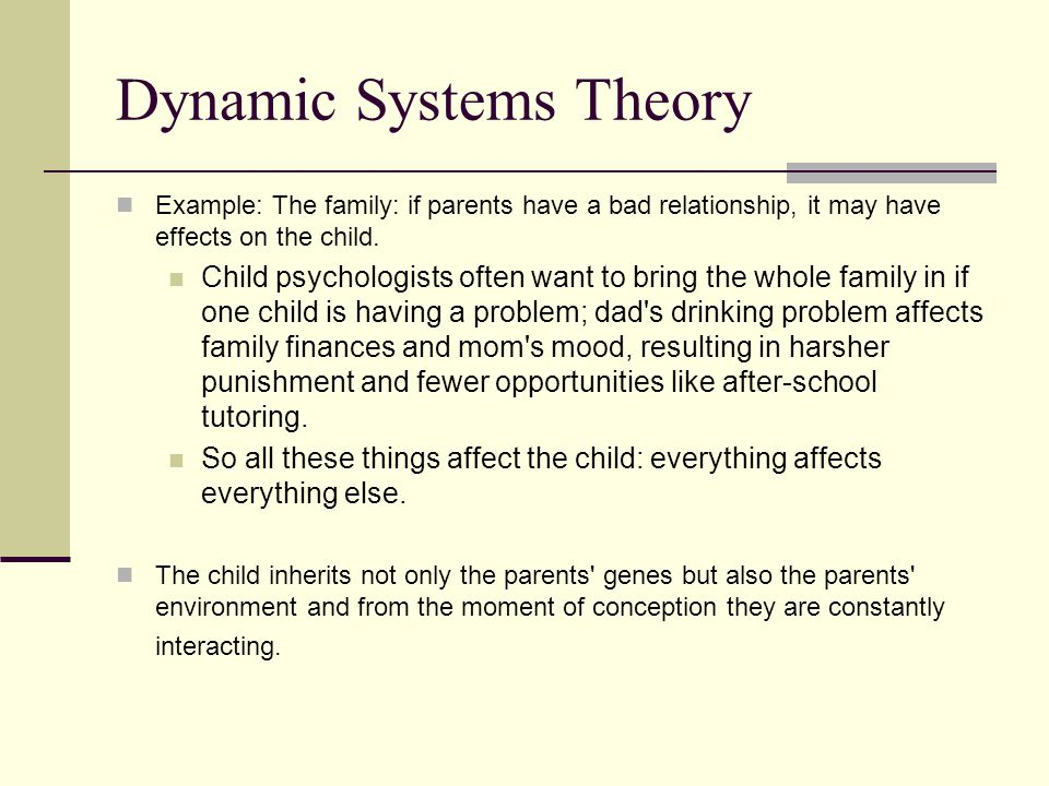 dynamic systems theory Dynamical systems theory is an area of mathematics used to describe the behavior of complex dynamical systems, usually by employing differential equations or.