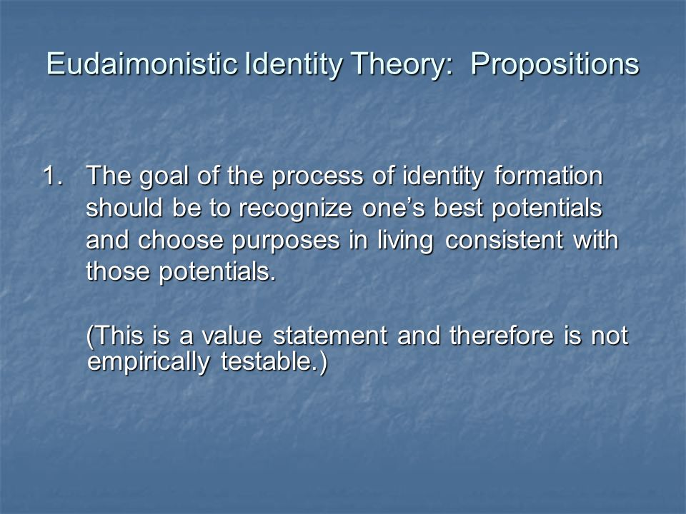 Eudaimonistic Identity Theory: Propositions