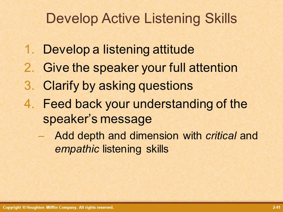 strategies for active critical and empathic listening Active listening is a communication technique that is used in counseling, training,  and conflict  listening – a nursing strategy to transcend culture j pract   download a one-hour seminar on empathic listening and attending skills  exercise 4.