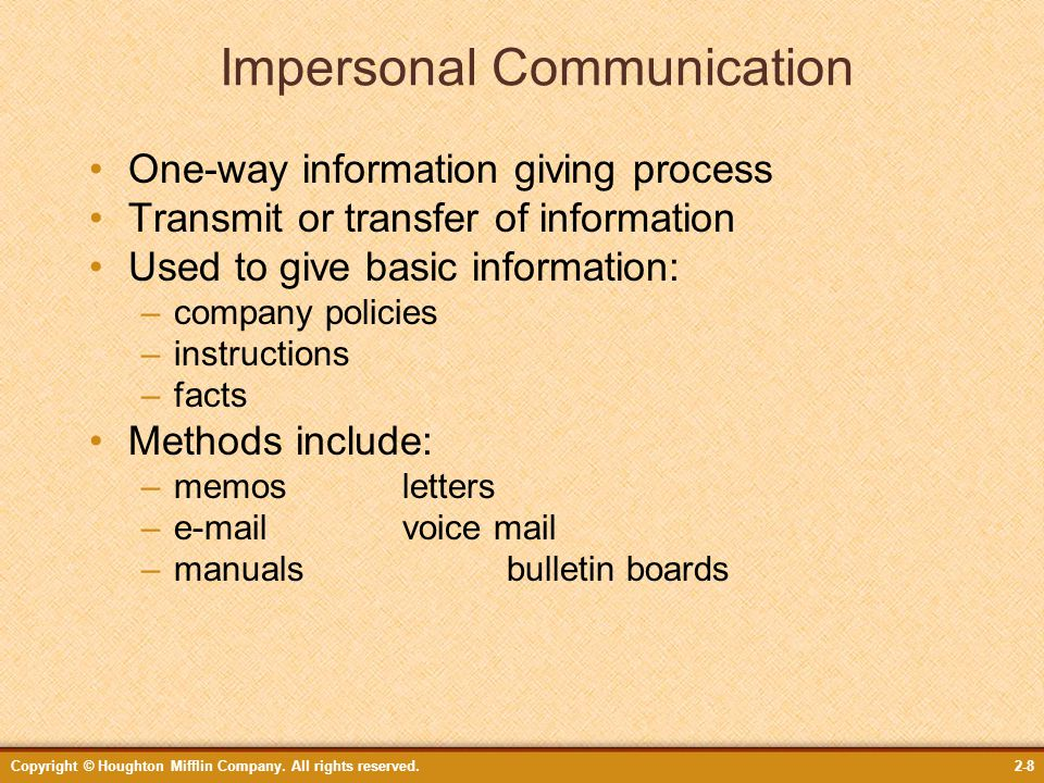 What Is an Example of Impersonal Communication?