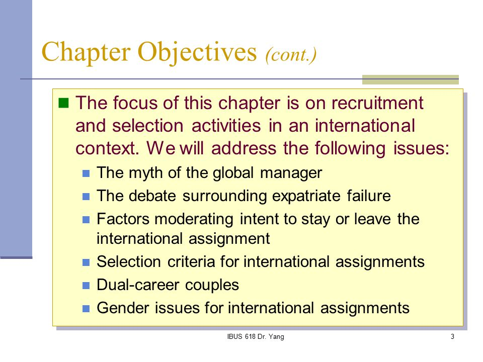 criteria for selecting staff for international assignments management essay The process of international assignments essay b  complexity of international human resource management (ihrm) and management of the global workforce is a .