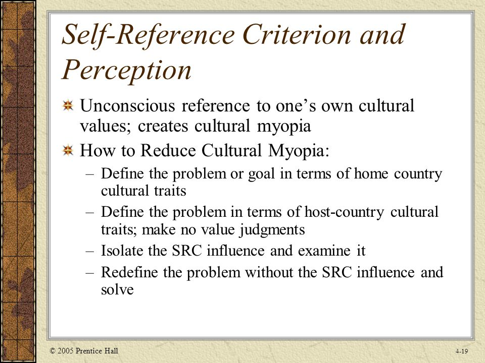 Self reference criterion and importance for international marketing
