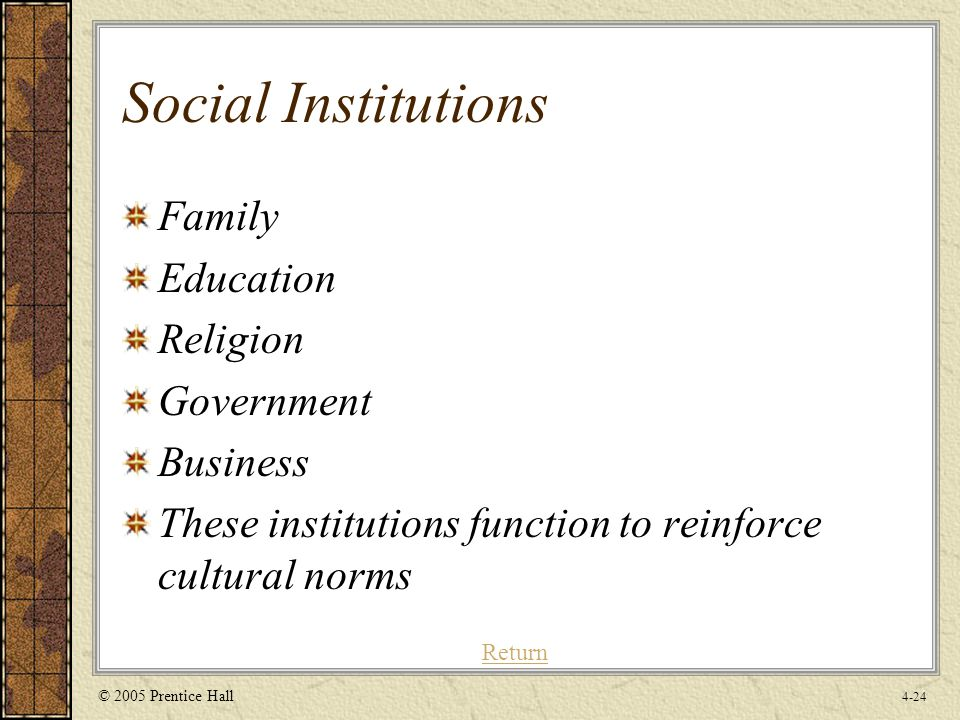 social institution in education A community's population and the organizations within social institutions might be   education is the primary social institution dedicated to transferring.