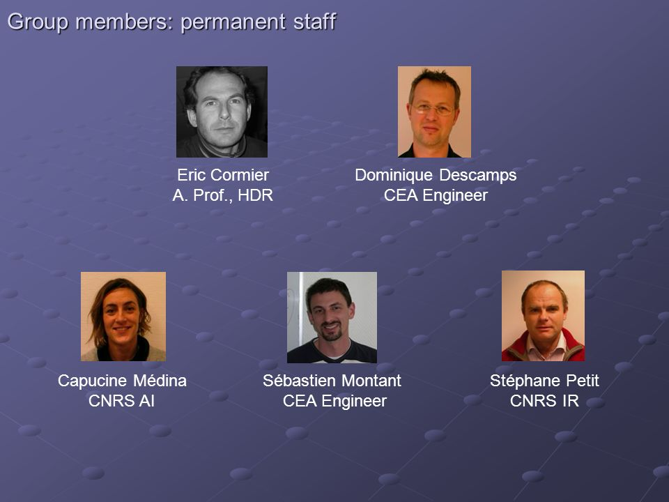 Group members: permanent staff