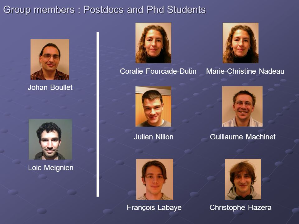Group members : Postdocs and Phd Students