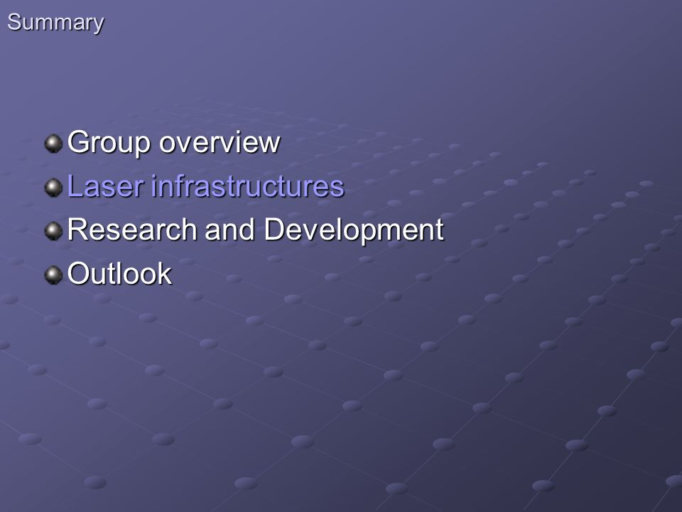 Laser infrastructures Research and Development Outlook