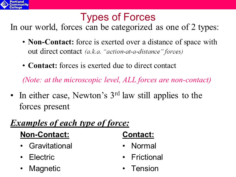 Types of Forces In our world, forces can be categorized as one of 2 types:
