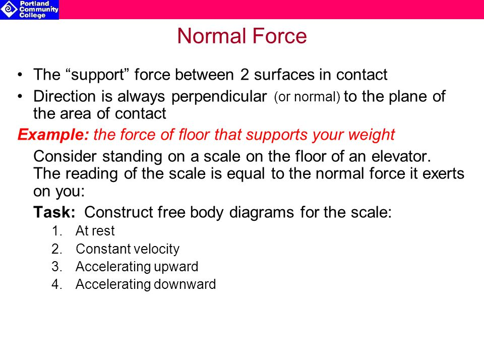 Normal Force The support force between 2 surfaces in contact