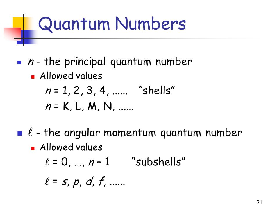 Quantum Numbers  - the angular momentum quantum number