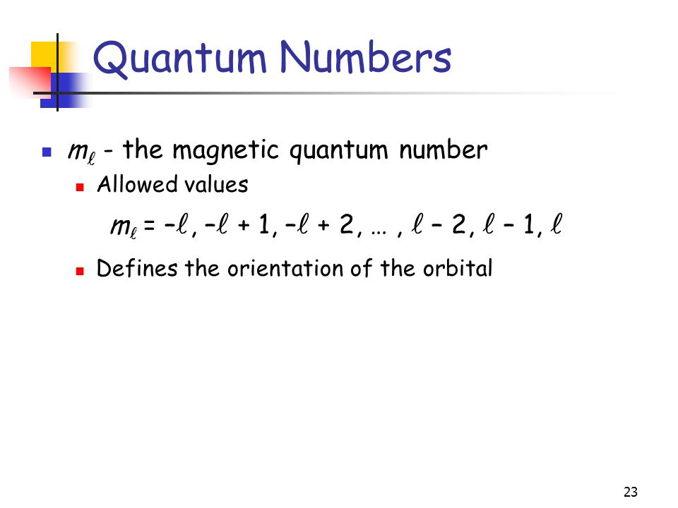 Quantum Numbers m - the magnetic quantum number