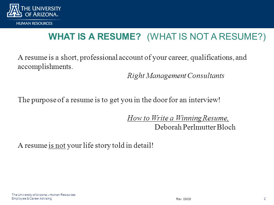 what is a resume what is not a resume - What Is A Resume