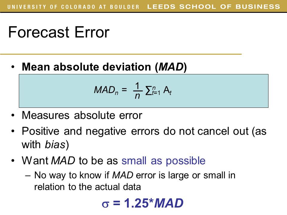 how to calculate mean absolute deviation in forecasting