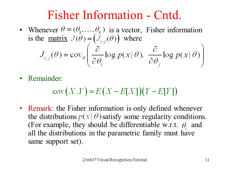 Fisher Information - Cntd.