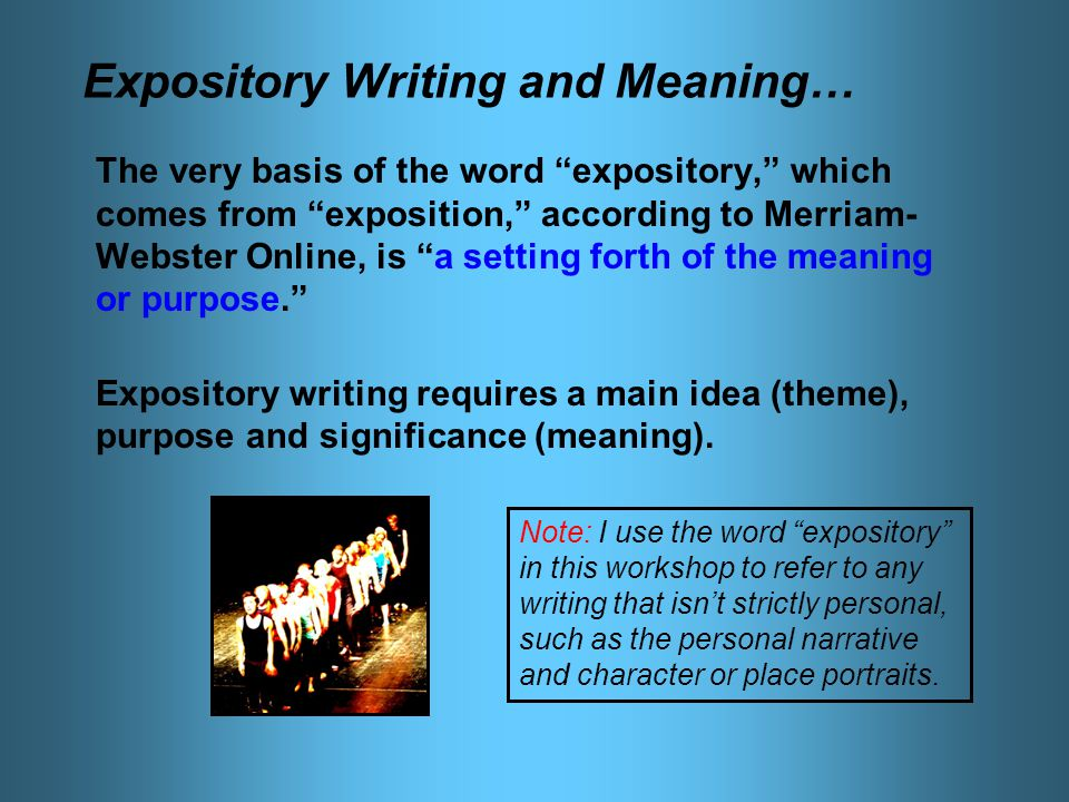 expository essay what does it mean Expository definition, of the nature of expositionexposition serving to expound, set forth, or explain: an expository essay expository writing see more.