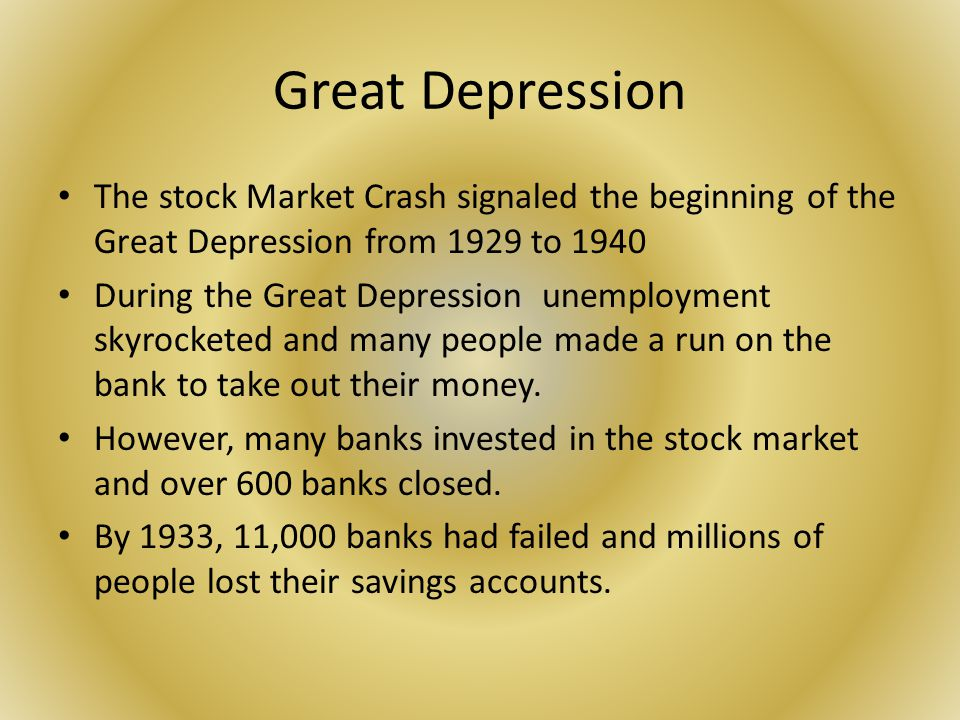 by the beginning of 1929 the The stock market crash of 1929 touched off a chain of events that plunged the  united states into its longest, deepest economic crisis of its history bank failure.
