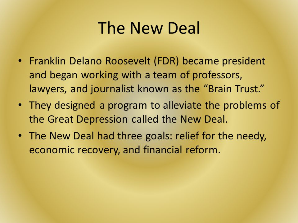 The new deal of franklin roosevelt that provided relief to millions of americans