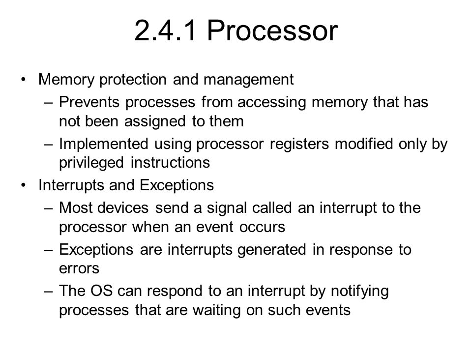 2.4.1 Processor Memory protection and management