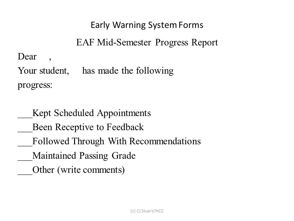 Early Warning System Forms