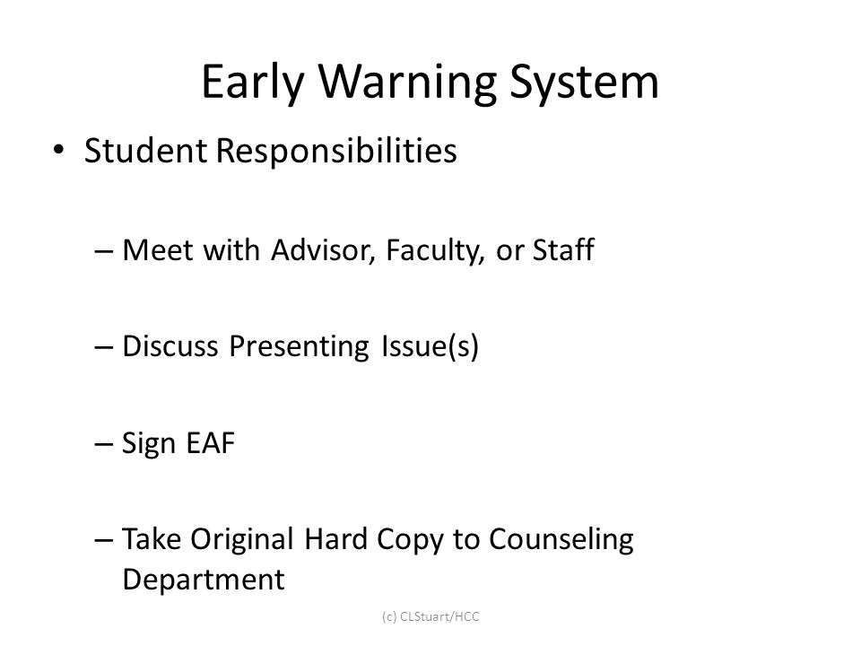 Early Warning System Student Responsibilities