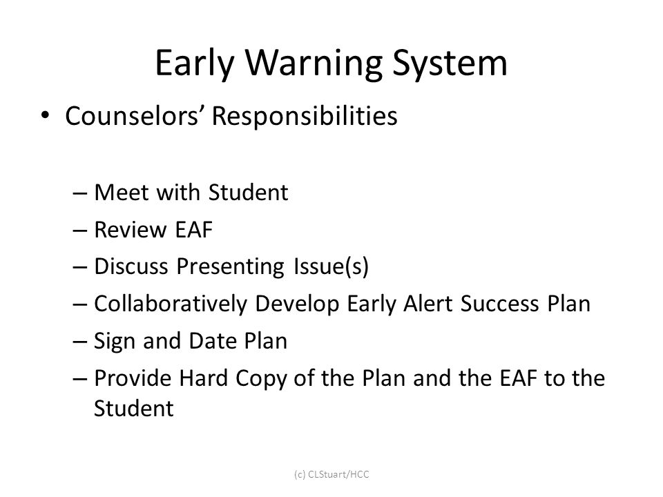 Early Warning System Counselors' Responsibilities Meet with Student