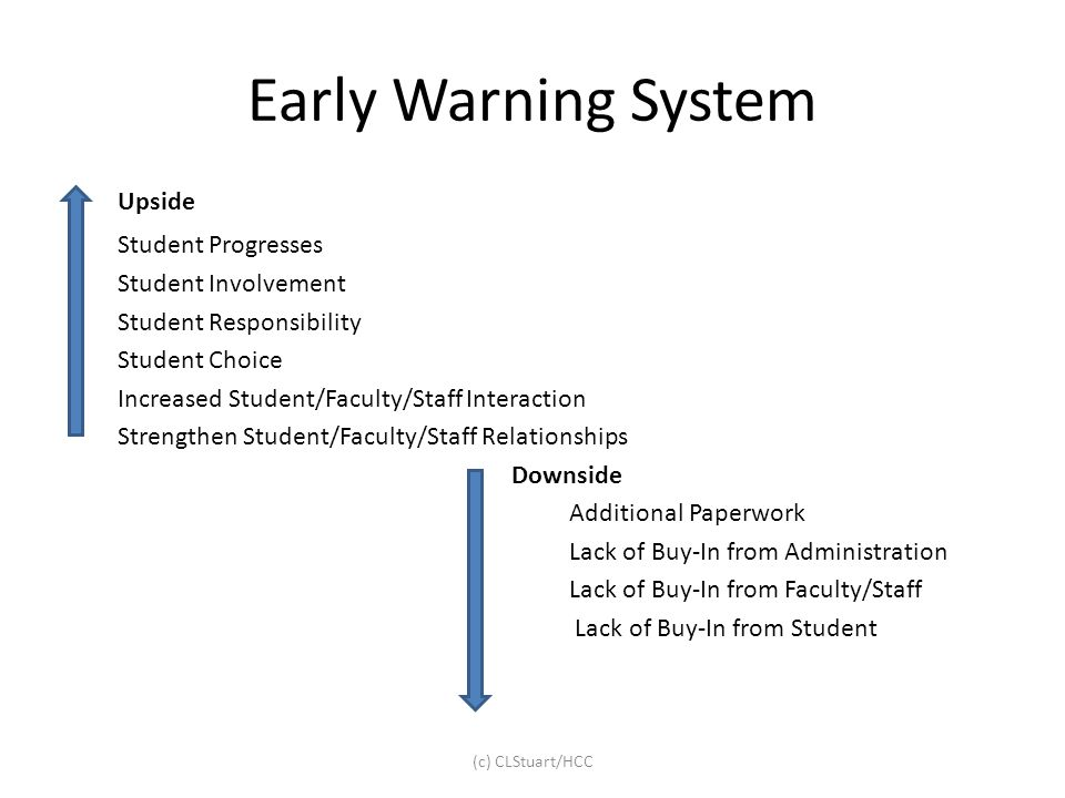 Early Warning System Upside Student Progresses Student Involvement