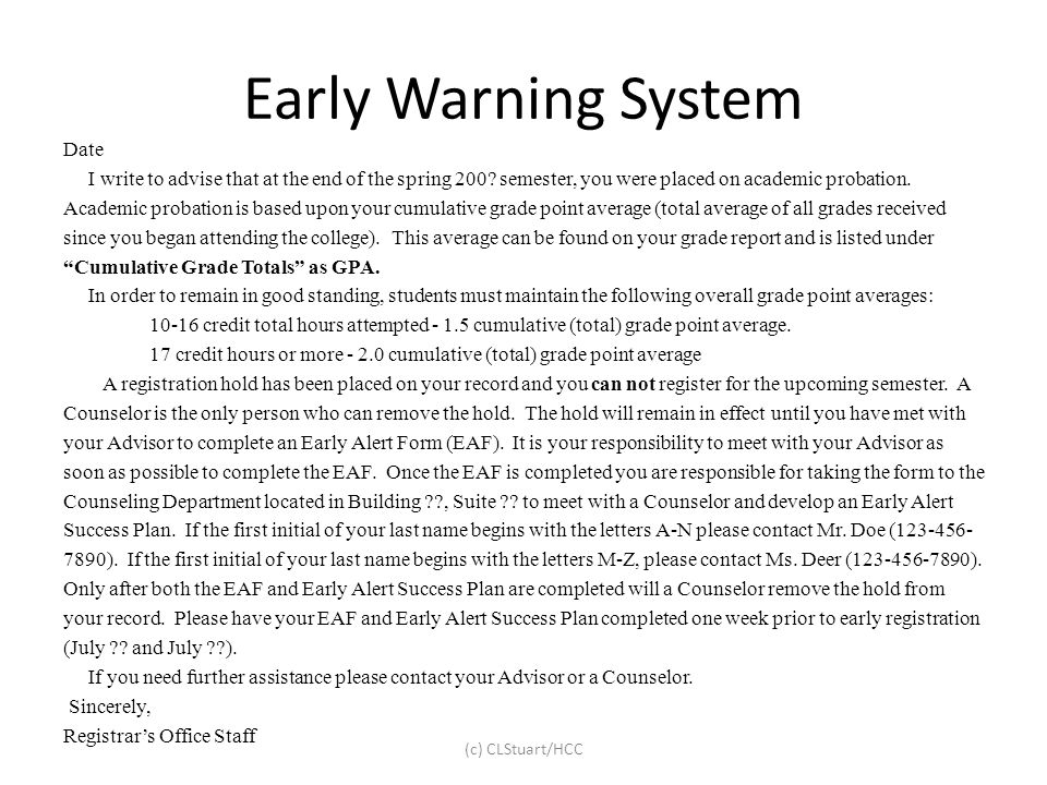 Early Warning System Date
