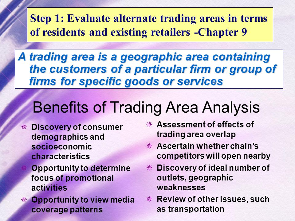 trade area analysis Trading area analysis why is location so important zdefines trade area boundaries between two cities (assumes you will choose to go one way or the other.