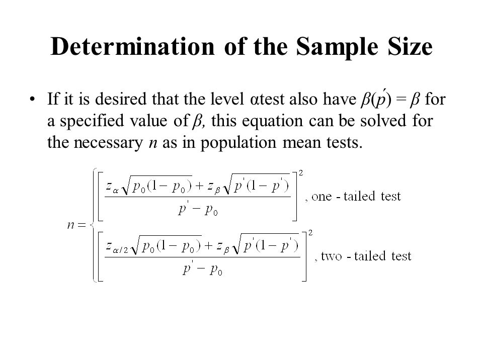 Determination of the Sample Size
