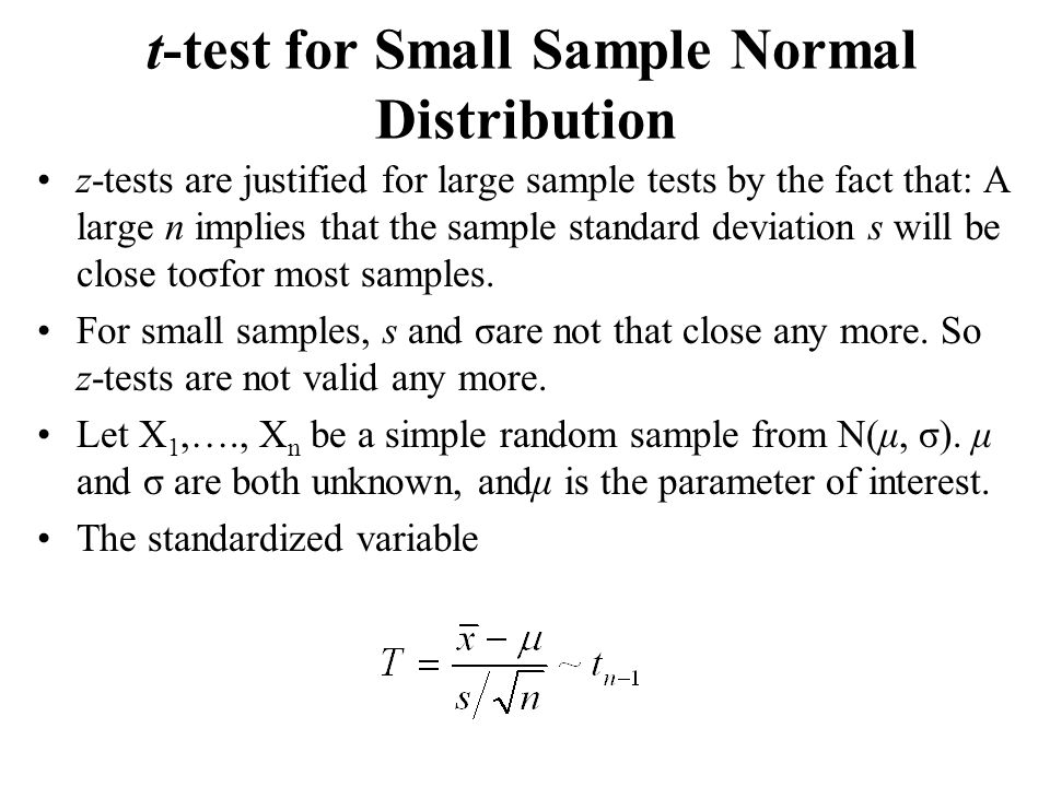 t-test for Small Sample Normal Distribution