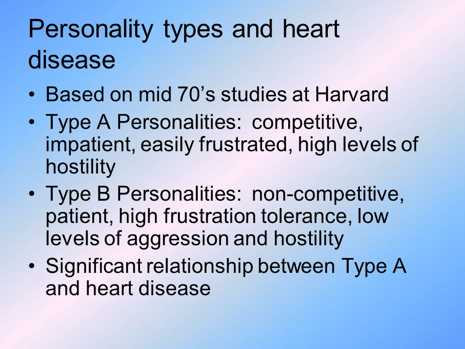 relationship between type a personality and heart disease